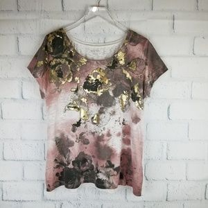 Relativity Abstract Print Burnout Tee. Size L.